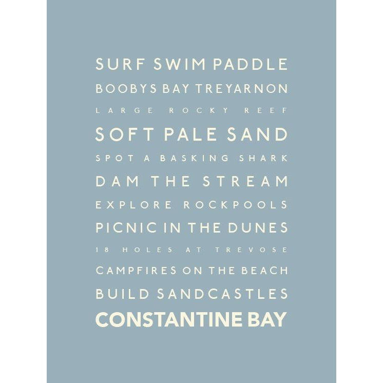 Constantine Bay Typographic Travel Print Coastal Wall Art by SeaKisses