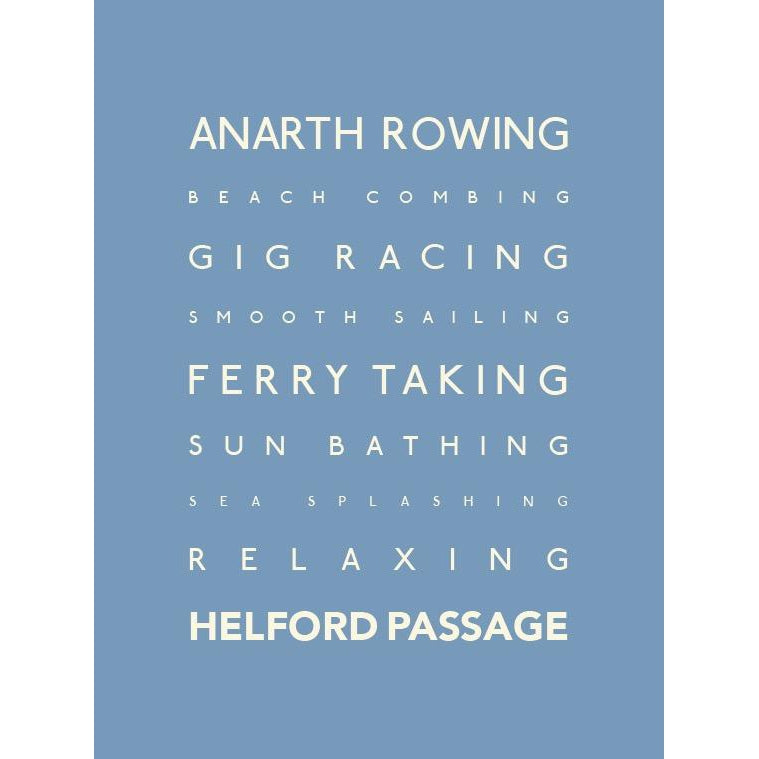 Helford Typographic Travel Print Coastal Wall Art by SeaKisses