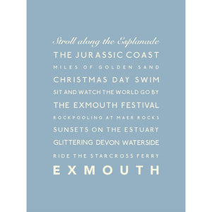 Exmouth Typographic Travel Print Coastal Wall by SeaKisses