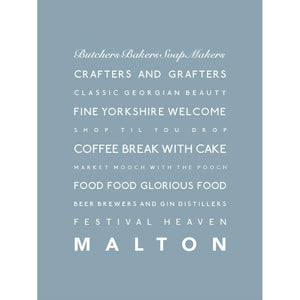 Malton Typographic Travel Print Wall Art By SeaKisses