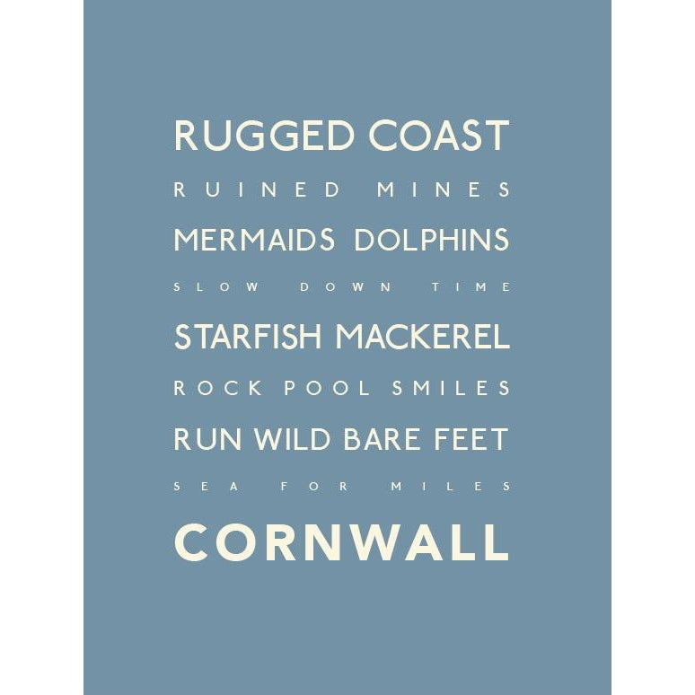Cornwall Rugged Coast Typographic Poem Coastal wall art by SEaKisses