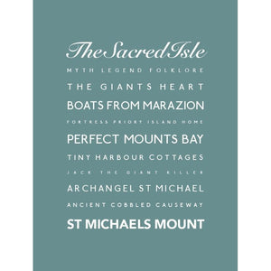 St Michael's Mount Typographic Seaside Print - Coastal Wall Art /Poster-SeaKisses