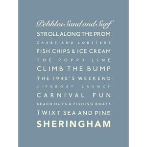 Sheringham Typographic Travel Print - Coastal Wall Art-SeaKisses
