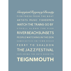 Teignmouth Typographic Seaside Print - Coastal Wall Art /Poster-SeaKisses
