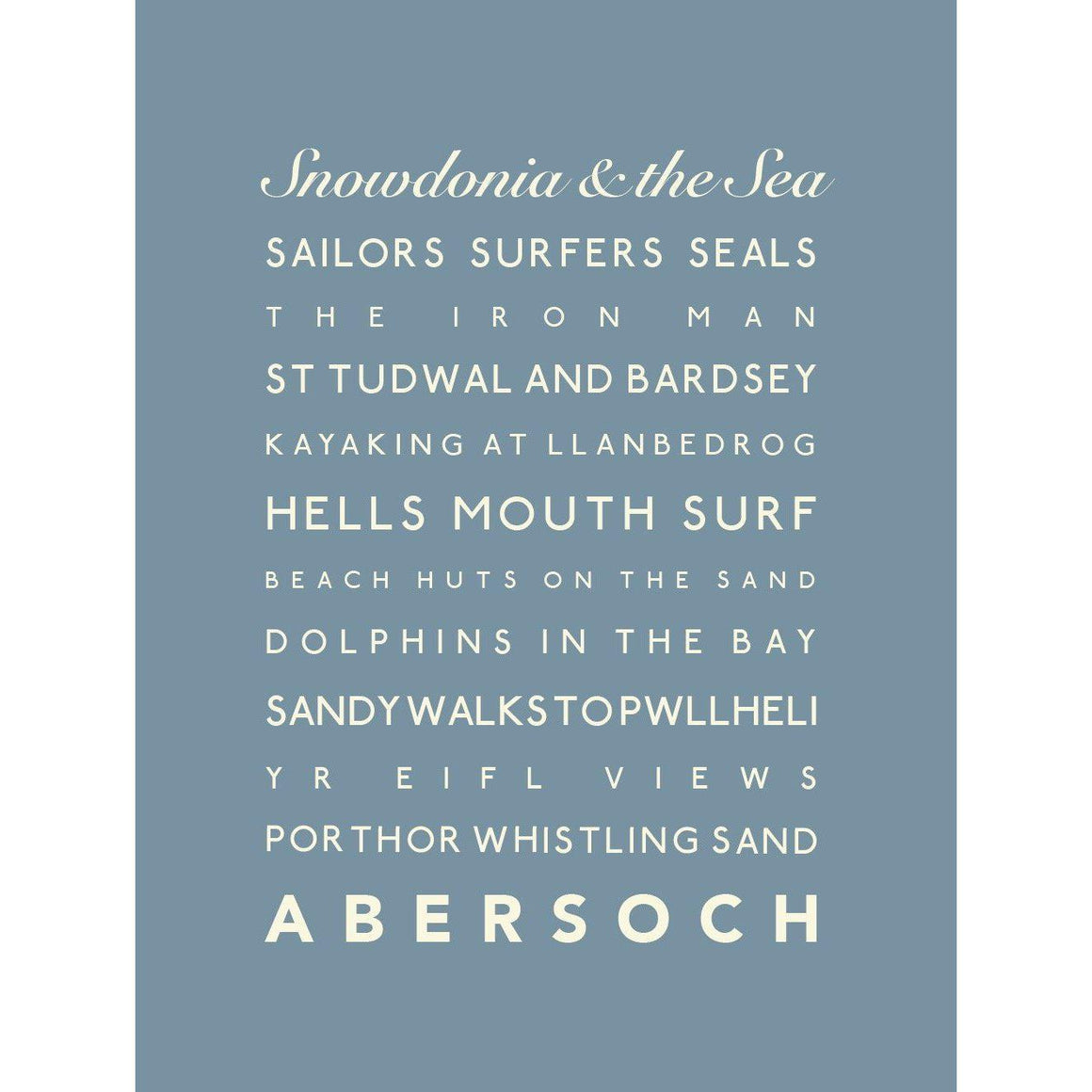 Abersoch Typographic Seaside Print - Coastal Wall Art-SeaKisses