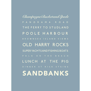 Sandbanks Typographic Travel Print- Coastal Wall Art-SeaKisses