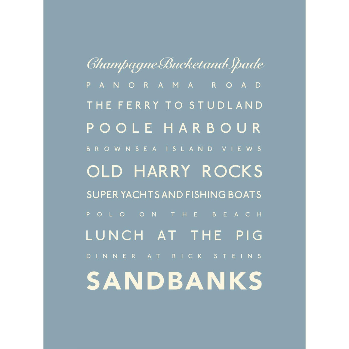 Sandbanks Typographic Travel Print Coastal Wall Art by SeaKisses