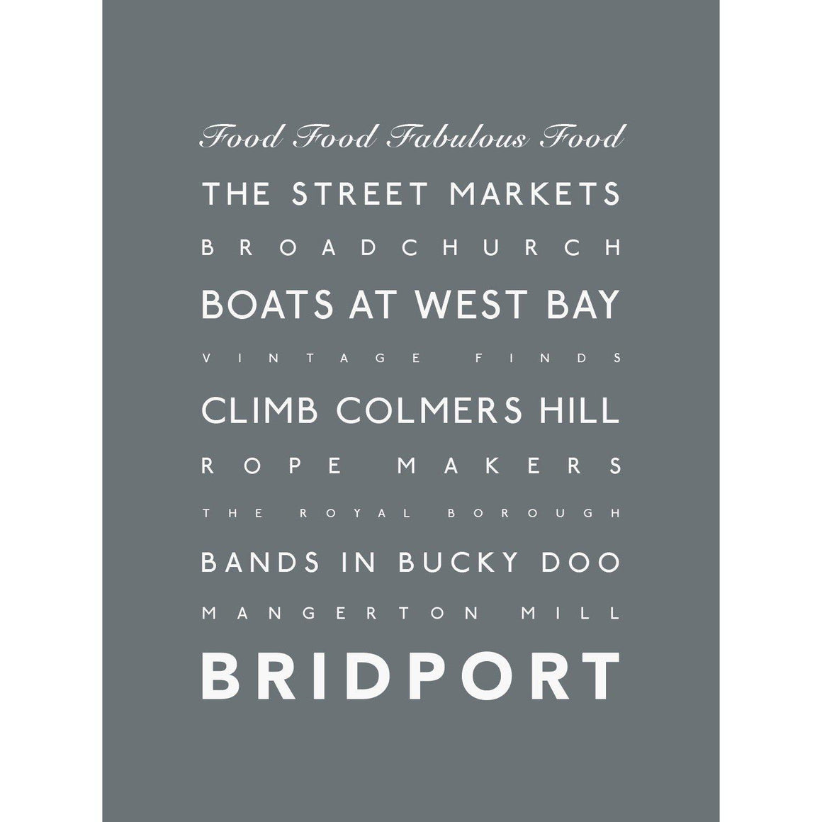 Bridport Typographic Travel Print- Coastal Wall Art