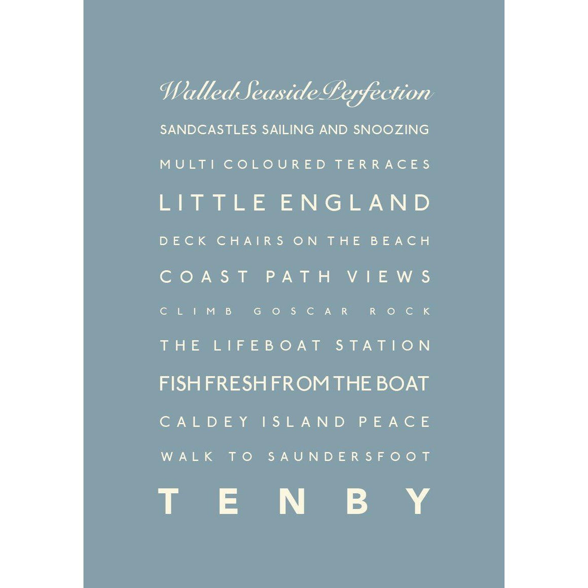 Tenby Typographic Seaside Print - Coastal Wall Art