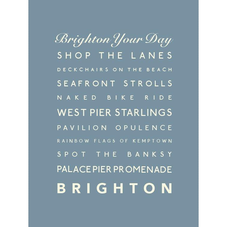 Brighton Typographic Print- Coastal Wall Art-SeaKisses
