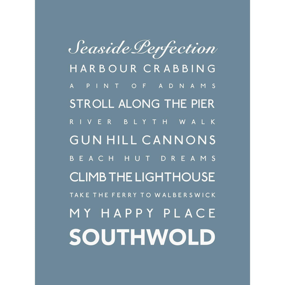 Southwold Typographic Travel Print- Coastal Wall Art-SeaKisses