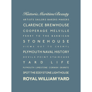 Royal William Yard Typographic Seaside Print - Coastal Wall Art /Poster-SeaKisses