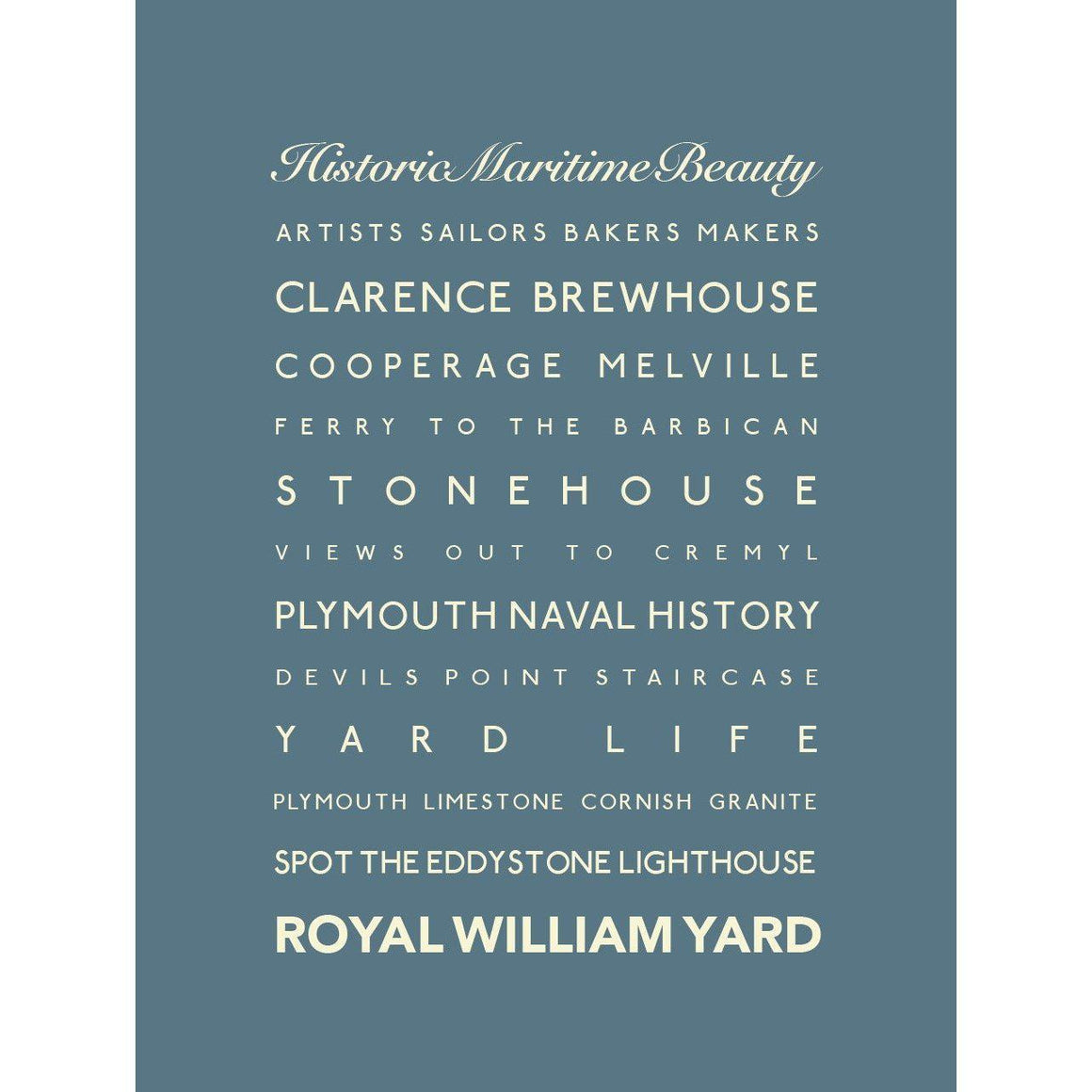 Royal William Yard Typographic Seaside Print - Coastal Wall Art-SeaKisses