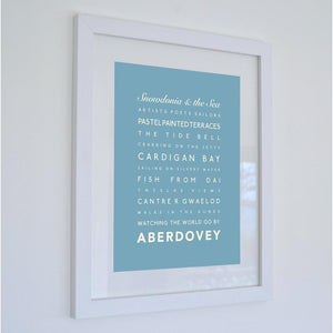 Aberdovey Typographic Seaside Print - Coastal Wall Art