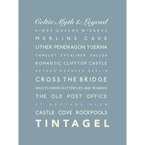 Tintagel Typographic Travel Print- Coastal Wall Art /Poster-SeaKisses