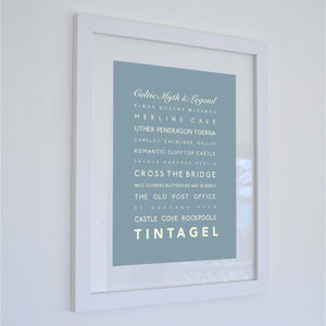 Tintagel Typographic Travel Print- Coastal Wall Art-SeaKisses