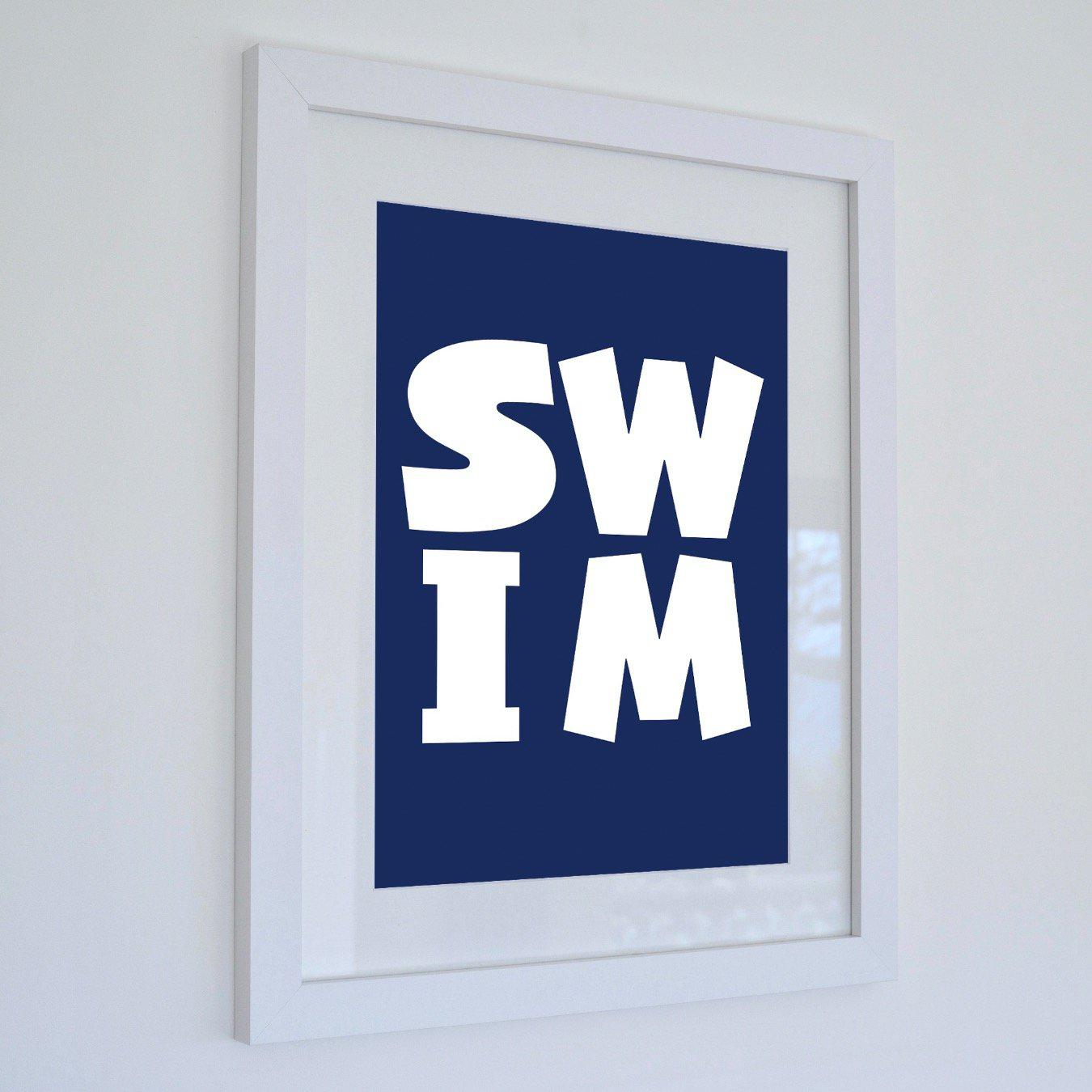 SWIM: Typographic Seaside Print Coastal Wall Art /Poster-SeaKisses