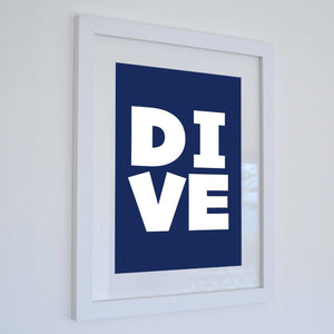 DIVE - Typographic Seaside Print - Coastal Wall Art-SeaKisses