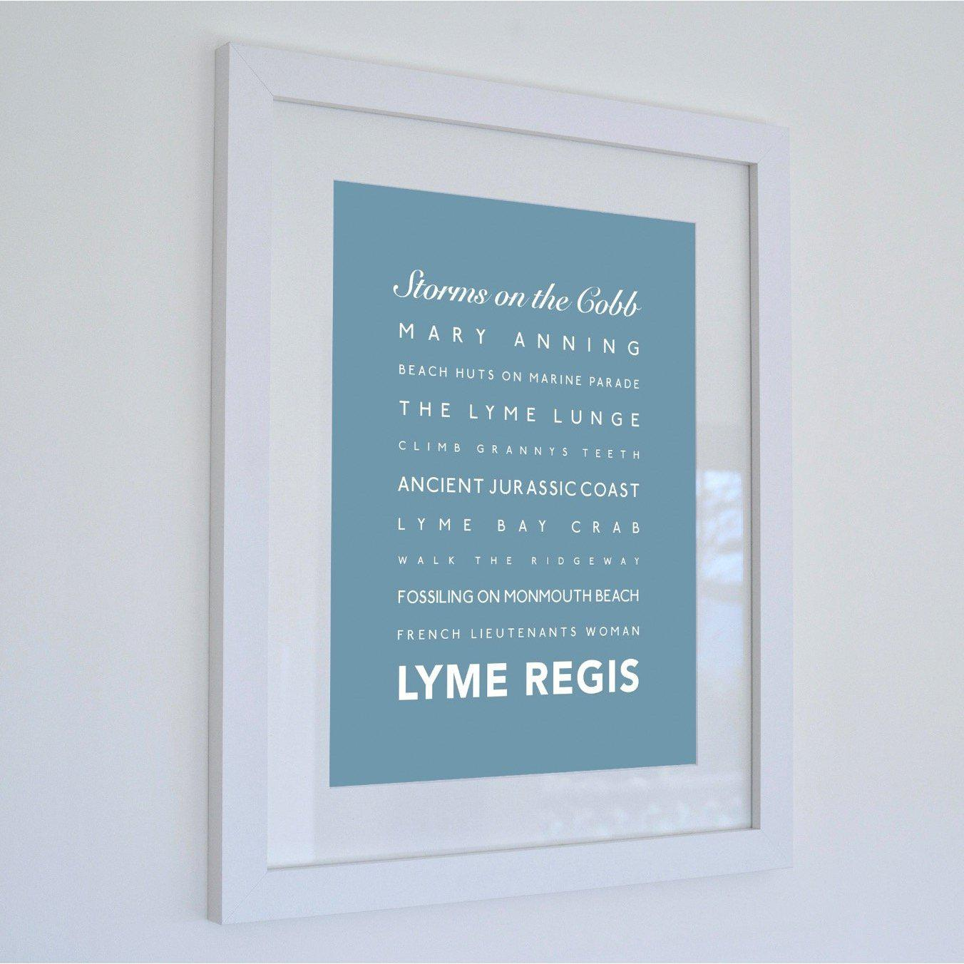 Lyme Regis Typographic Travel Print- Coastal Wall Art /Poster-SeaKisses