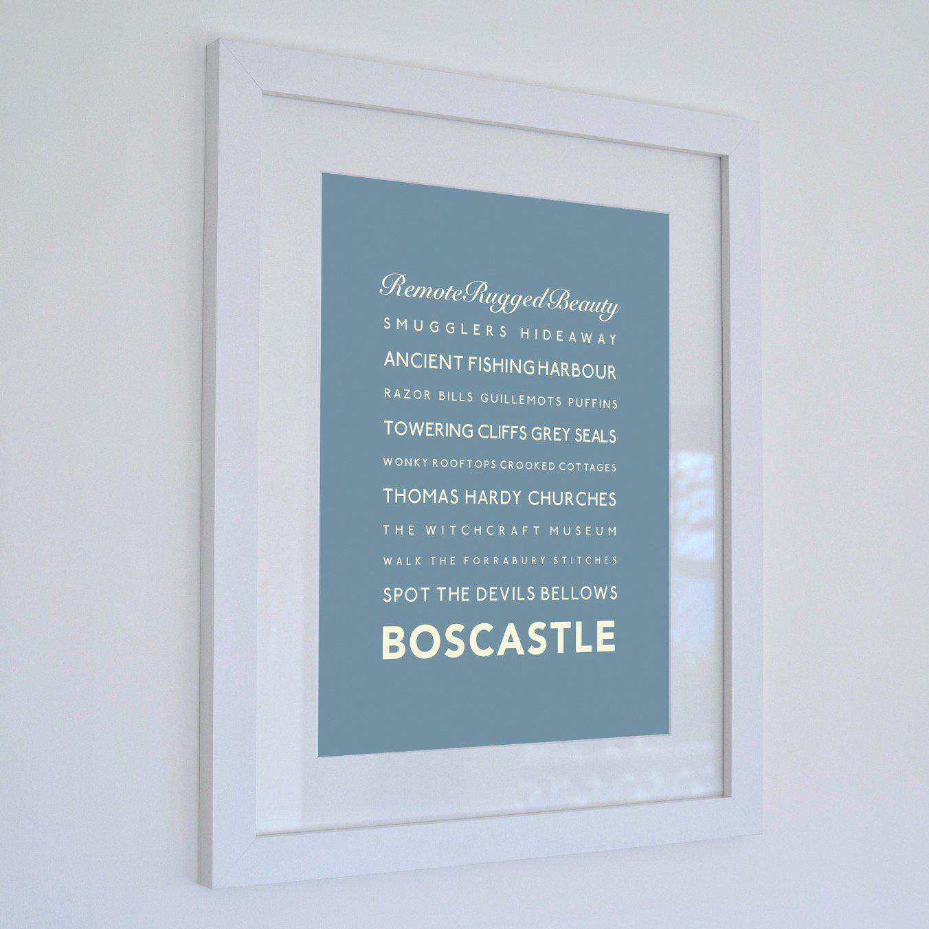 Boscastle Typographic Travel Print - Coastal Wall Art /Poster-SeaKisses
