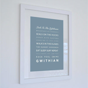 Gwithian Typographic Travel Print- Coastal Wall Art /Poster-SeaKisses