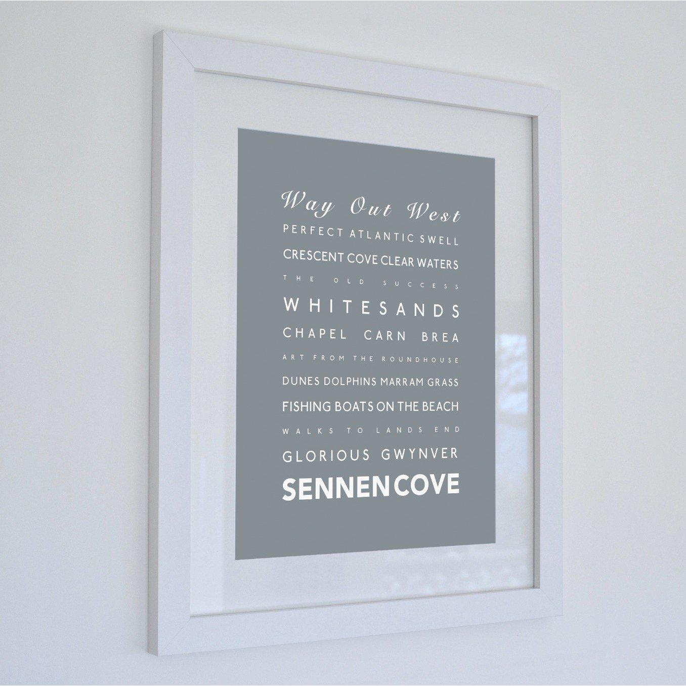 Sennen Cove Typographic Travel Print - Coastal Wall Art /Poster-SeaKisses
