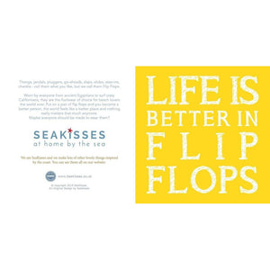 Life is Better in Flip Flops Coastal Greeting Card in Yellow
