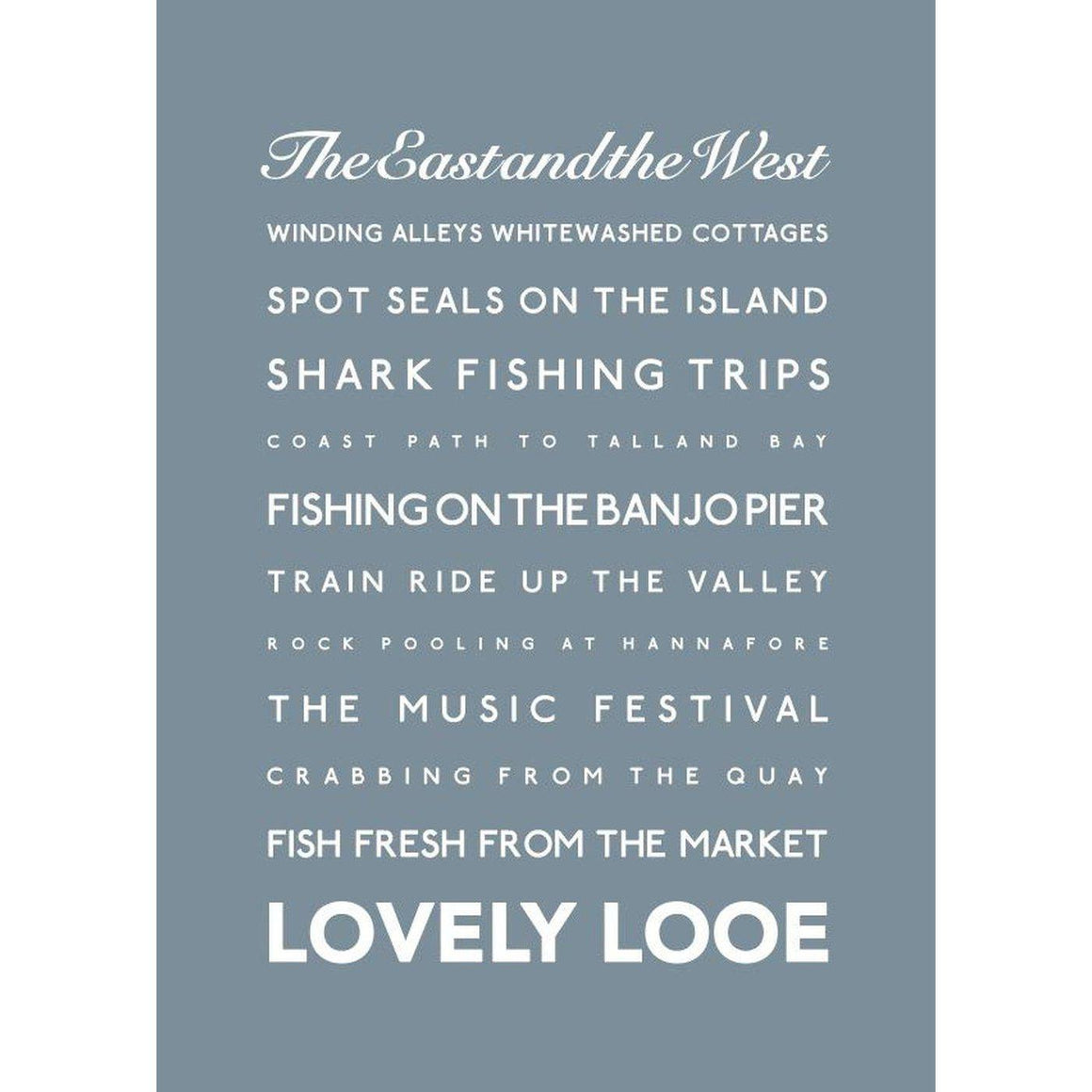 Looe Typographic Travel Print/Poster Seaside Art by SeaKisses