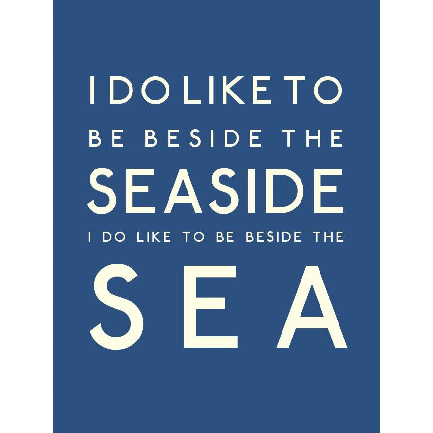 Beside The Sea Typographic Travel Print/Poster Coastal Wall Art by SeaKisses