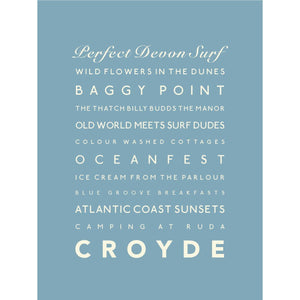 Croyde Typographic Travel Print- Coastal Wall Art /Poster-SeaKisses