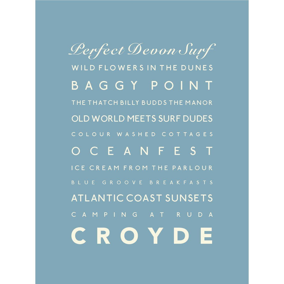 Croyde Typographic Travel Print- Coastal Wall Art-SeaKisses