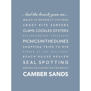 Camber Sands Typographic Print- Coastal Wall Art /Poster-SeaKisses
