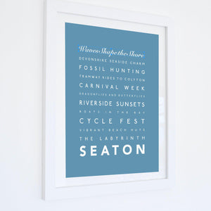 Seaton Typographic Travel Print- Coastal Wall Art /Poster-SeaKisses