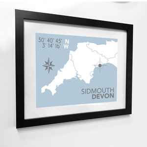 Sidmouth Map Travel Print- Coastal Wall Art /Poster-SeaKisses