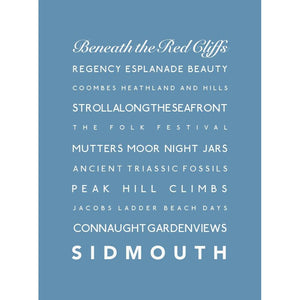Sidmouth Typographic Travel Print- Coastal Wall Art-SeaKisses