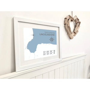 Skegness Map Travel Print- Coastal Wall Art /Poster-SeaKisses