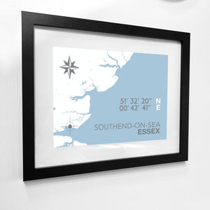 Southend-on-Sea Map Travel Print- Coastal Wall Art /Poster-SeaKisses