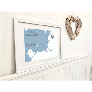 Southport Map Travel Seaside Print - Coastal Wall Art /Poster-SeaKisses