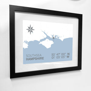 Southsea Map Travel Print- Coastal Wall Art /Poster-SeaKisses