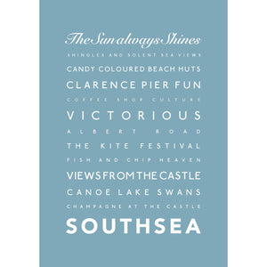 Southsea Typographic Travel Print- Coastal Wall Art /Poster-SeaKisses