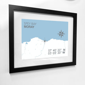 Spey Bay, Lossiemouth Map Travel Print- Coastal Wall Art /Poster-SeaKisses