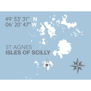 St Agnes, Isles of Scilly Map Travel Print- Coastal Wall Art /Poster-SeaKisses