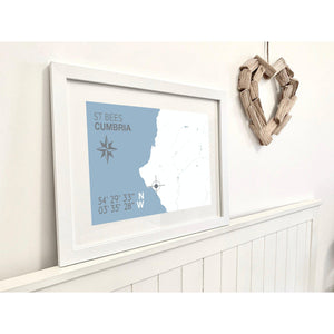 St Bees Map Travel Seaside Print - Coastal Wall Art /Poster-SeaKisses