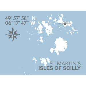 St Martin's, Isles of Scilly Map Travel Print- Coastal Wall Art /Poster-SeaKisses