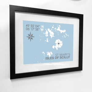 St Mary's, Isles of Scilly Map Travel Print- Coastal Wall Art /Poster-SeaKisses