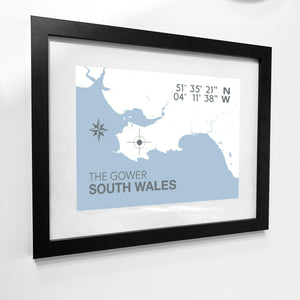 Gower Map Seaside Print - Coastal Wall Art /Poster-SeaKisses