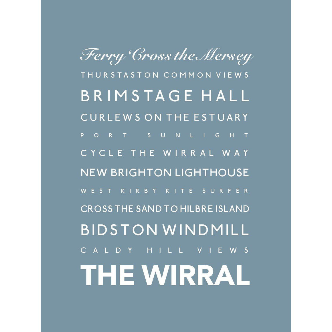 The Wirral Typographic Seaside Print - Coastal Wall Art-SeaKisses