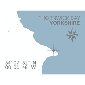 Thornwick Bay Map Travel Print- Coastal Wall Art /Poster-SeaKisses