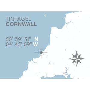 Tintagel Map Travel Print- Coastal Wall Art /Poster-SeaKisses