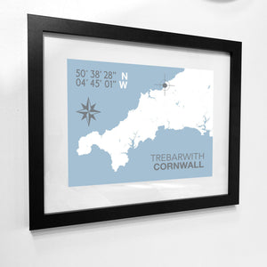 Trebarwith Map Travel Print- Coastal Wall Art /Poster-SeaKisses